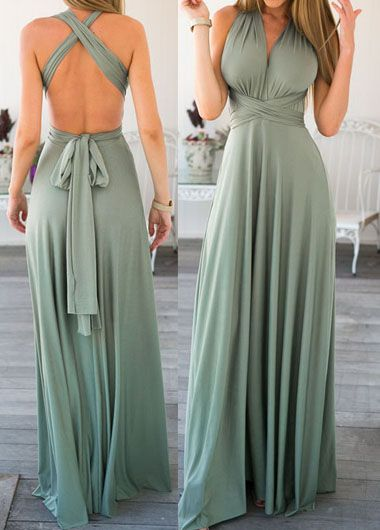 Sleeveless V Neck Open Back Maxi Dress - USD $24.77