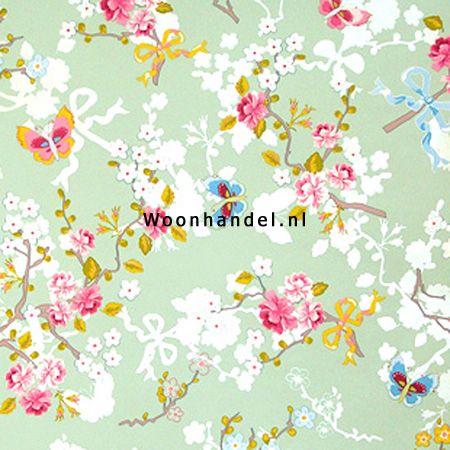 386036 Chinese Rose Eijffinger Behang Pip Vlinder Bloem Groen - Woonhandel