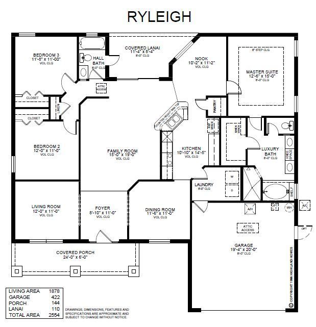 Superb New Home Plans With Open Concept Part - 11: The Ryleigh By Highland Homes Is A 1 Story Florida New Home Floor Plan  Featuring 3 Bedrooms And 1878 Square Feet Of Living Space Designed For Your  Life!