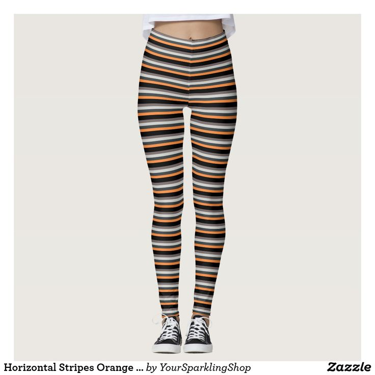 Horizontal Stripes Orange Black Sand Pattern  #leggings