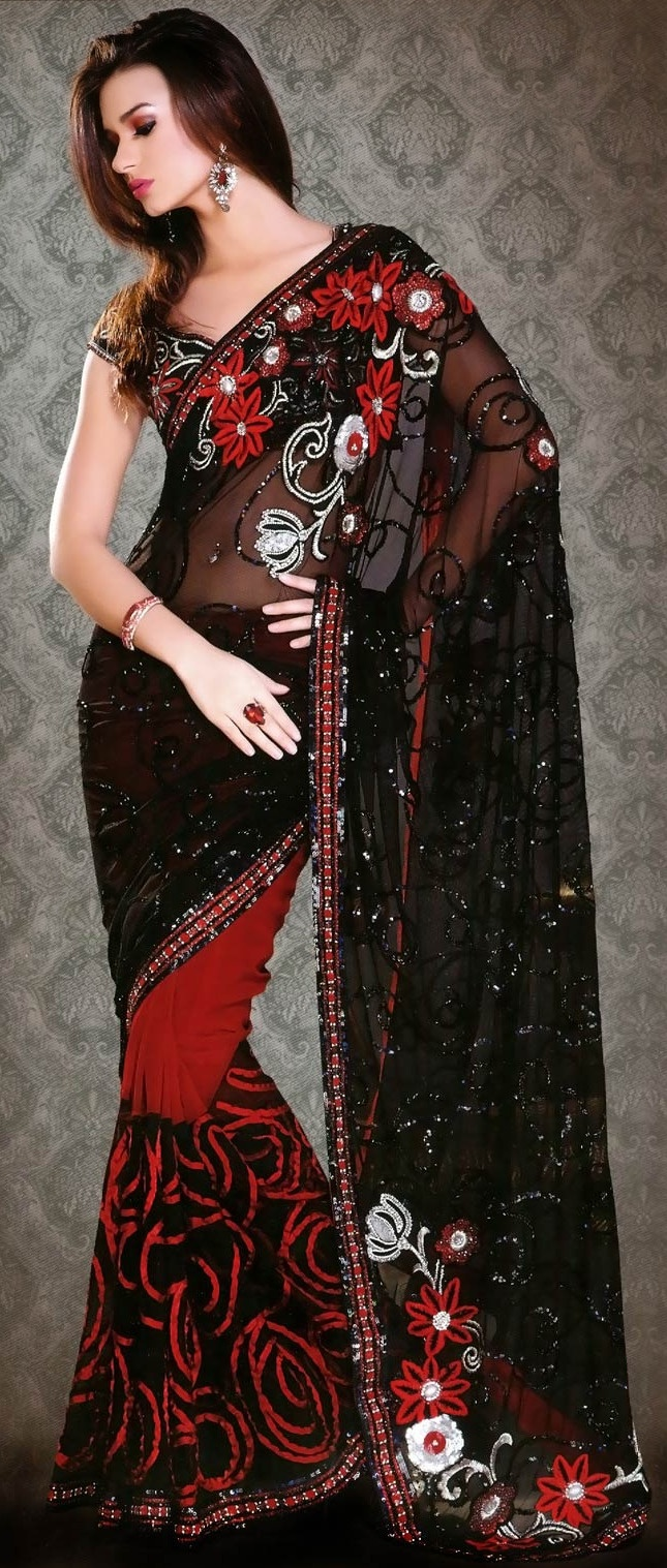 #Black and #Red Net and #Georgette #Saree