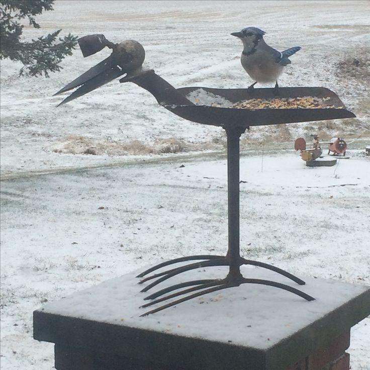 High Toes bird bird feeder doing his job Rusty Relics Metal Art
