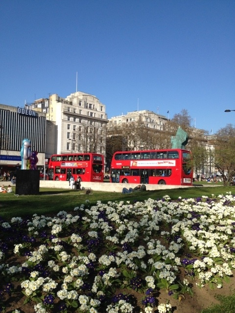 Double Decker Buses in London near the Marble Arch