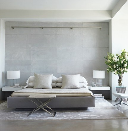 white and grey - modern bedroom