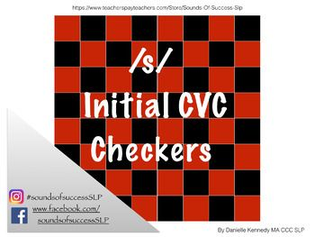 A mini checkers board with /s/ initial CVC words on the places to address articulation while engaging students in a fun game!
