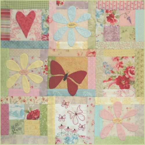 Butterfly Garden - Block 1 - beautiful images of applique and embroidery used on a quilt block.