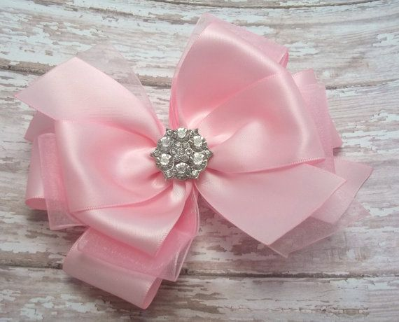 Pink Satin Boutique Hair Bows, Satin Hair Accessories, Satin Hair Clips, Wedding Hair Bow, Flower Girl, Pagants, Prom