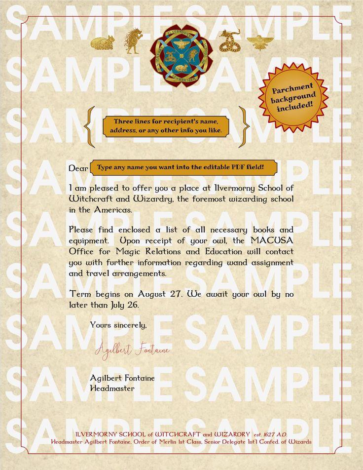 Ilvermorny acceptance letter printable editable PDF Etsy