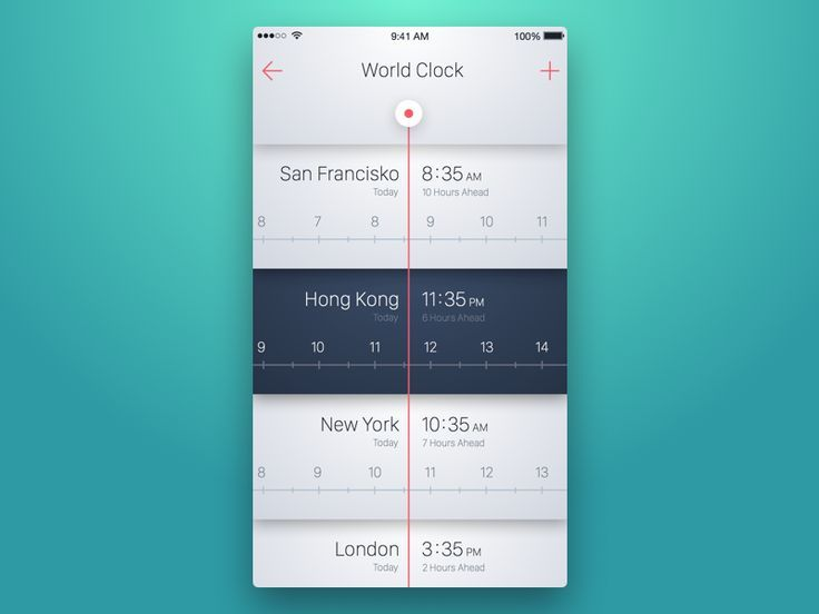 World Clock Mobile App UI Compare