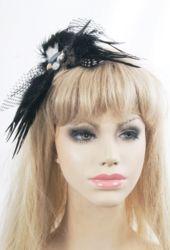 Zwarte veren haarspeld/corsage met strass-steentjes