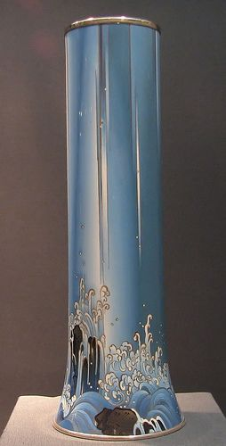 Namikawa Yasuyuki (1845-1927) Incense Burner Decorated with Hydrangea. Meiji period.  One of the most famous cloisonné artists in Japan, Namikawa Yasuyuki, worked in the city of Kyoto, known for its elegant if somewhat conservative style of decoration.