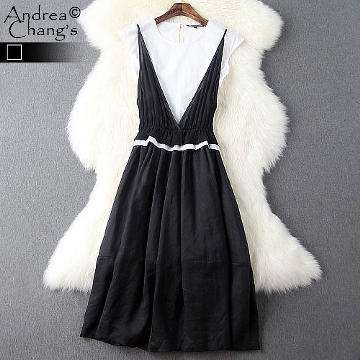 Купить Весна лето впп дизайнер женские платья белая футболка черное платье с оборками талии до колен мода свободного покроя хлопка бренда платьеи другие товары категории Платьяв магазине Andrea Chang's storeнаAliExpress. Платья