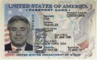 How To Get a U.S. Passport or Passport Card: Sample of the new U.S. Passport Card, which can be used in lieu of a passport for travel between the U.S. and the Caribbean, Bermuda, Canada and Mexico.