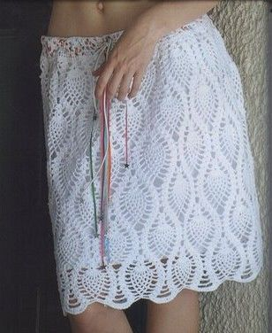 White Pineapple Motif Skirt free crochet graph pattern