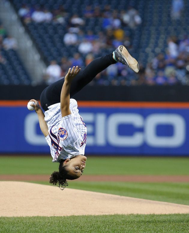 Laurie Hernandez's First Pitch At A Mets Game Was Flippin' Awesome