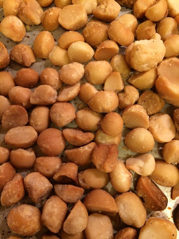 Roasted macadamia nuts.