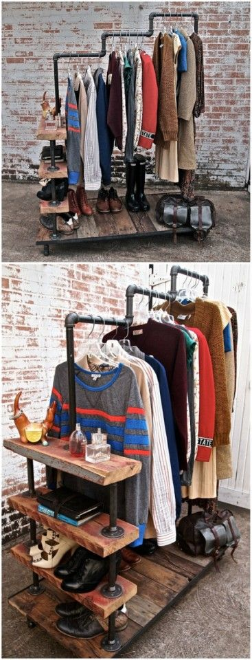 DIY clothes rack open wardrobe with shelves from pipe and reclaimed wood.