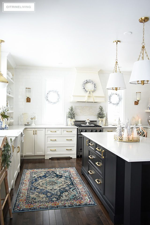 Christmas Kitchen Decorating Silver Gold Greenery Kitchen Design Decor Diy Kitchen Decor Kitchen Inspirations