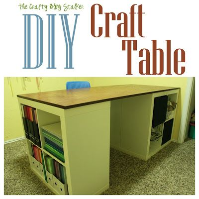 Craft table out of Ikea Expedit shelves