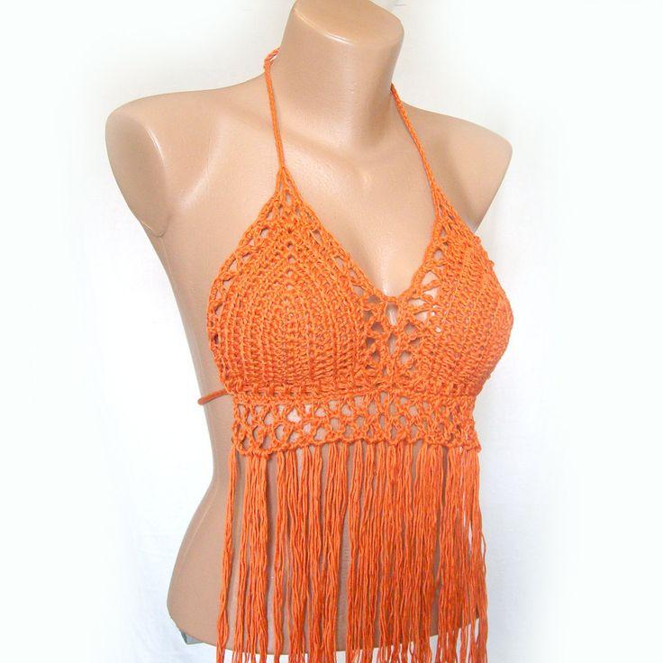 Вязание крючком топ с бахромой оранжевый бикини Sexy от KnittedSmiles