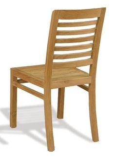 Silla de comedor RUSTIC de Bambó Blau. De madera de teca rayada. Estilo rústico.