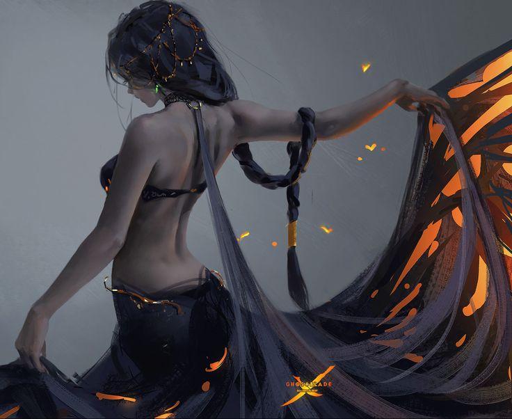 Butterfly by wlop on DeviantArt (detail)