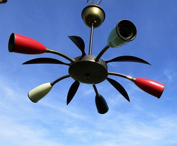 Authentic Italian 5 arm Spider Sputnik atomic Chandelier era Stilnovo Eames