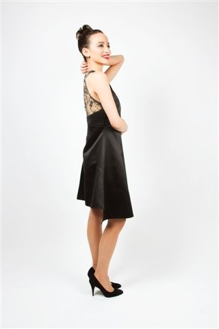 A-Line dress made from Perfect Silk! The back of the dress is detailed with beautiful lace. Prices start at Euro 295. www.anyblackdress.com