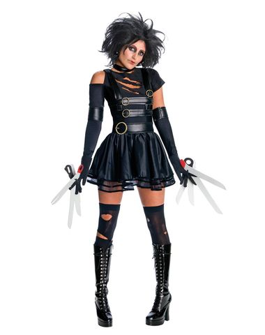 Edward ScissorHands is a cult classic film about a teenager who lives alone is a house high atop a hill and who has scissors for hands. Edward uses his scissor hands to create beautiful topiaries sculptures and even hairstyles but what he really wants is love. This Sexy Women's Miss Edward Scissorhands Costume is the officially licensed female version of the Edward Scissorhands costume. The 6 piece set includes a black dress with strap details and shreds a pair of glovelettes a pair of sc...