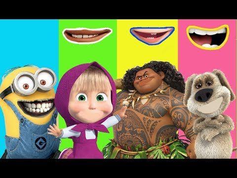 Wrong Mouth Masha Moana Maui Minions Talking Ben Finger Family Song Nurs...