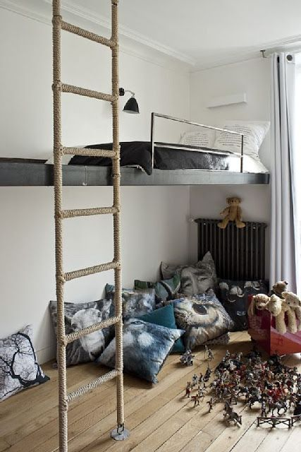 Paris apartment, kids bedroom, playroom, stairs for suspended bed, pillows