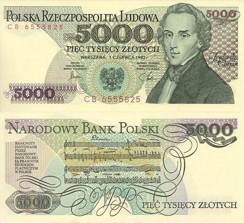 Polish banknote circa 1982