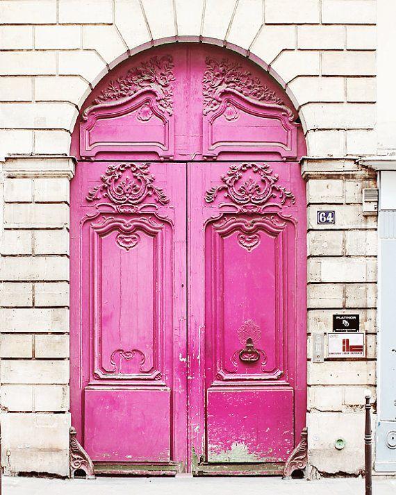 Neon Pink Door, Paris France - 8x10 Home Decor Art Photography Print, Magenta, Brick, White, French, Travel, Girls Room, Feminine, Love,