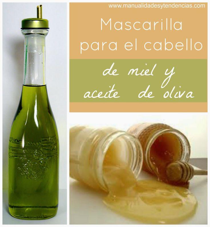 mascarilla para el pelo casera de miel y aceite de oliva. www.manualidadesytendencias.com #bellezanatural #mascarillacapilar