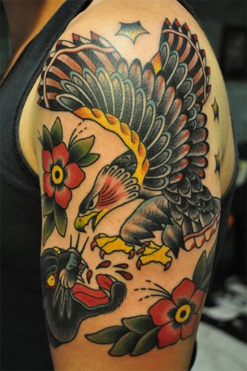 23 best images about tattoo traditional eagle on pinterest for Black eagle tattoo shop