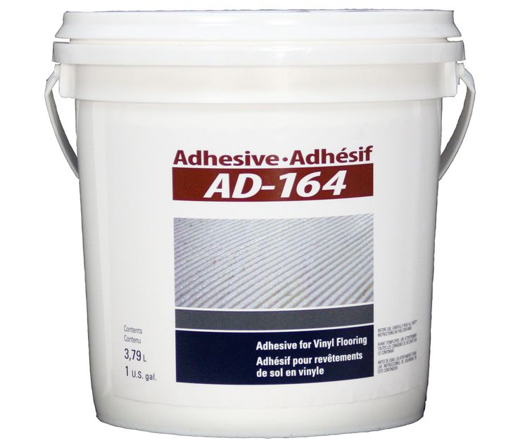 FREE SHIPPING! Adhesive AD-164 (1 gal.). This acrylic-based adhesive for vinyl flooring may be used as well for commercial, institutional and residential purposes.  For your glued down vinyl flooring installation, the AD-164 adhesive is the solution that you need!