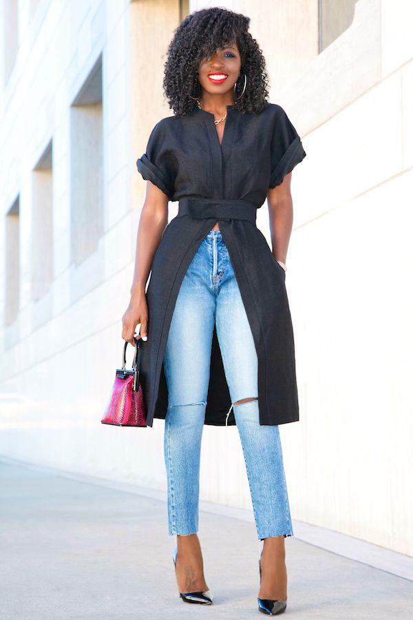 Стиль буфетная | С коротким рукавом Кимоно куртка + Разорванные голеностопного Длина джинсы