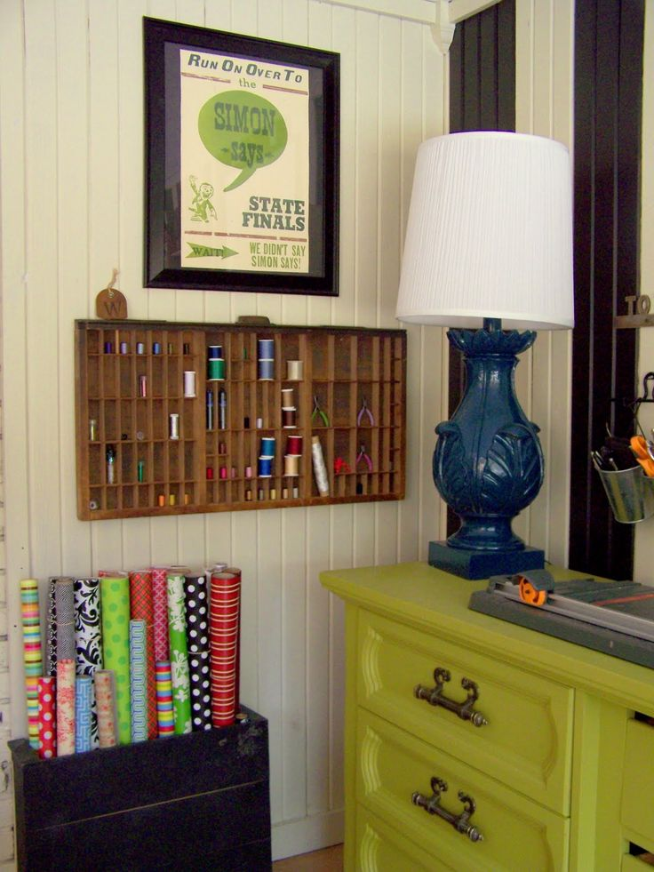 storing wrapping paper, from older and wisor: How To Create A {Budget} Craft Room
