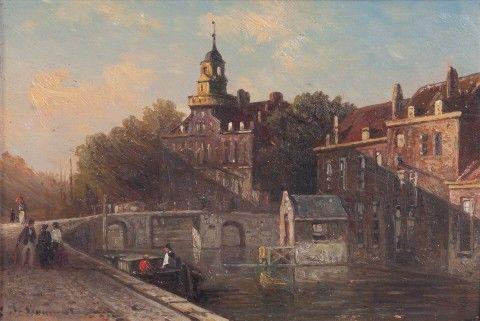 van Bommel, Elias Pieter (1819–1890)   Pohled na Gravenhagen, 1882   Aukce obrazů, starožitností   Aukční dům Sýpka