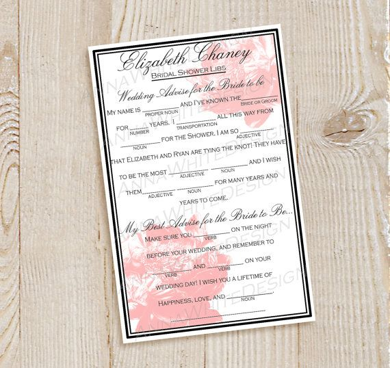 Printable Wedding Shower MadLib Personalized by AnnaWhiteDesign