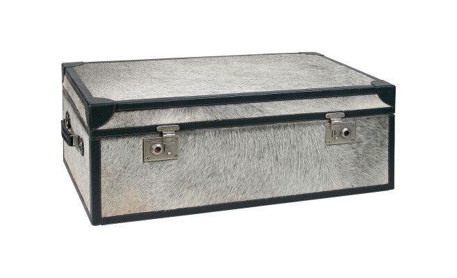 Truhe Treasure Moo Bench aus Kuhfell grau, schwarz verschiedene Größen 300eu
