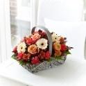 Autumn Basket Flower Arrangement. Online flower gifts from Lamber de Bie Flowers.  http://www.lamberdebie.ie/shop/subcategory/autumn-flowers
