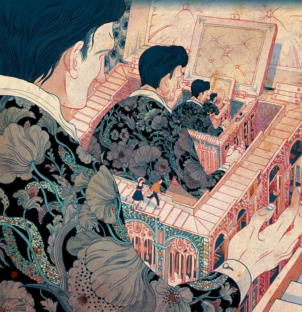 By Victo Ngai, from Hong Kong.  For an unusual instance, Art Nouveau patterns in an Asian print, when Art Nouveau took part of its inspiration from Japanese line art. Not to mention an allusion to M.C. Escher, Chinese Boxes, and Russian Dolls.