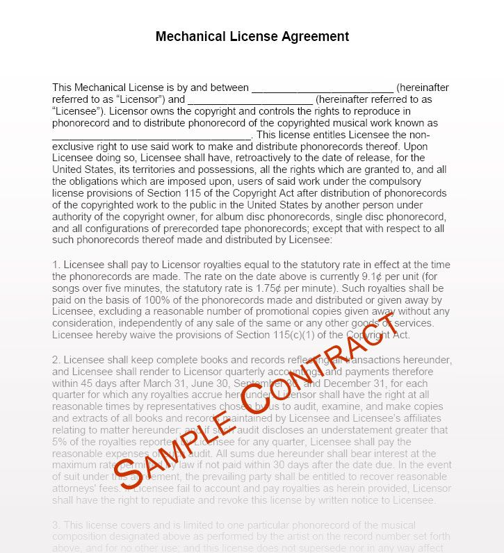 Music Manager Contract Templates - Music Management Contracts for - music agreement contract