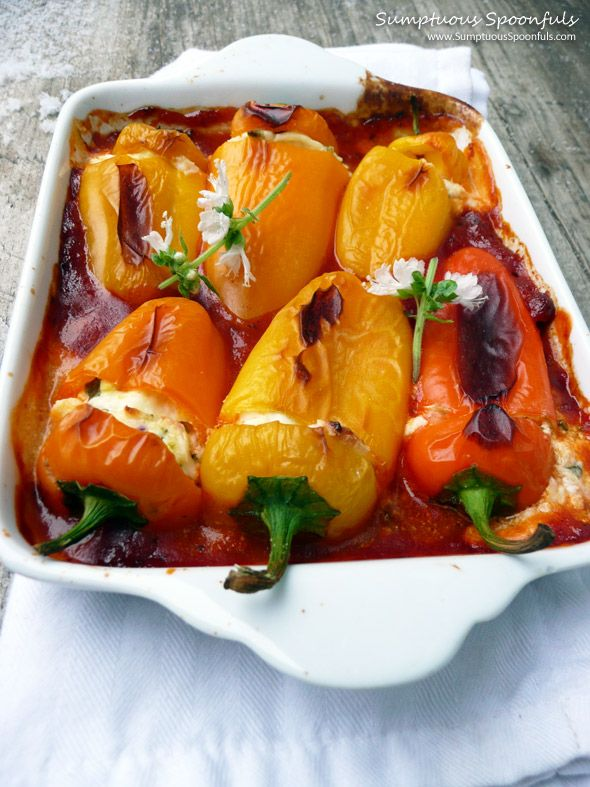 Basil Goat Cheese Stuffed Sweet Peppers ~ from Sumptuous Spoonfuls #stuffed #peppers #recipe