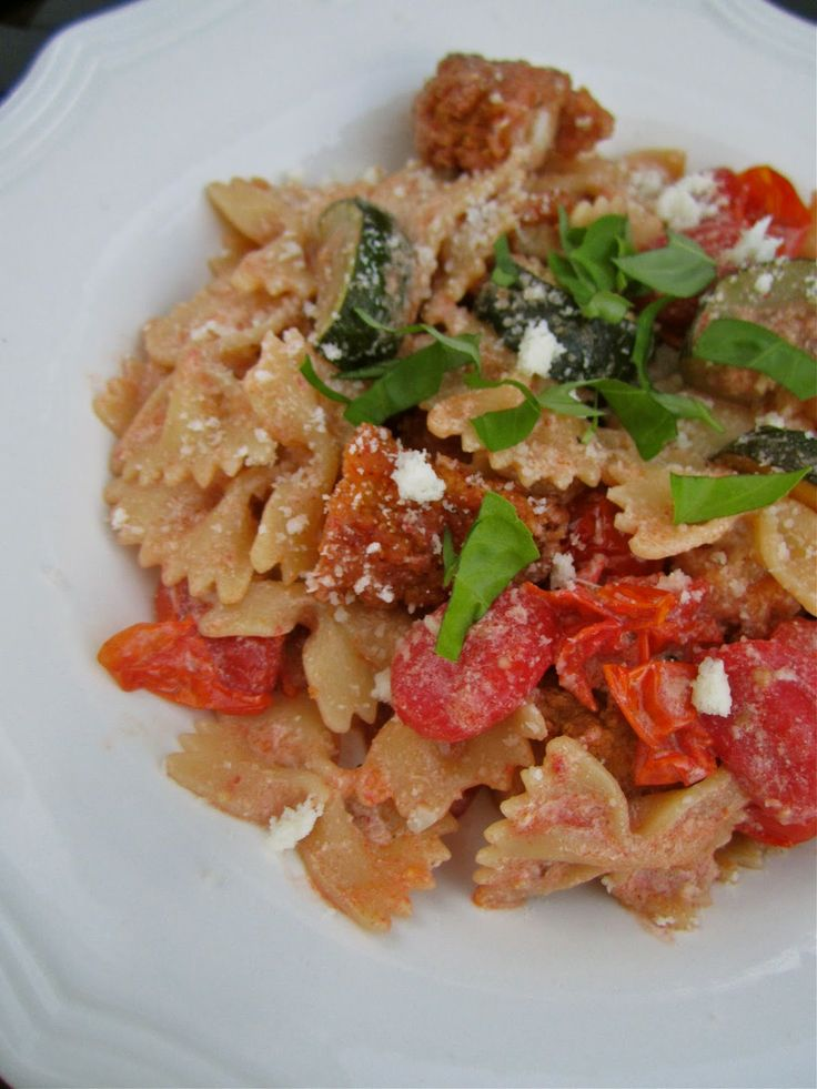 Farfalle with Roasted Vegetables and Crispy Chicken.