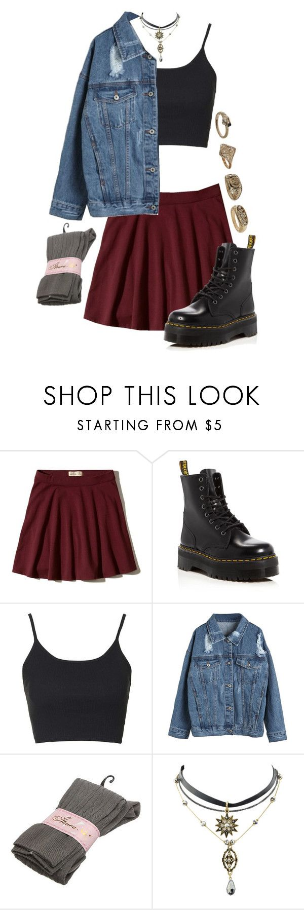 """""""Never wanted it to be so cold"""" by pageslearntothink on Polyvore featuring Hollister Co., Dr. Martens, Topshop and WithChic"""