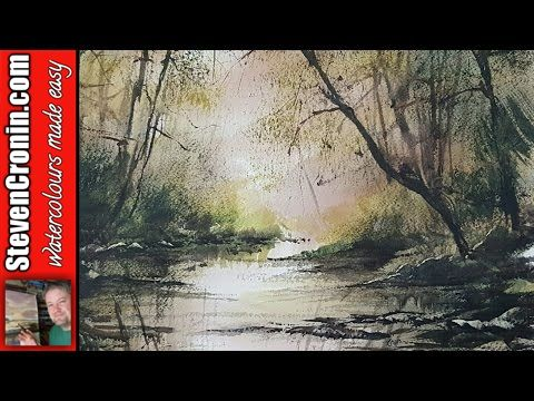 How To Paint a Simple Woodland Stream in Watercolour - YouTube