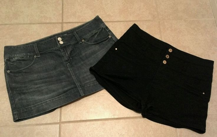 JUNIOR'S 2● BLACK HIGH WAIST SHORTS & JEAN MINI SKIRT SZ 10 ** I PAY SHIPPING ** in Clothing, Shoes & Accessories, Women's Clothing, Mixed Items & Lots | eBay