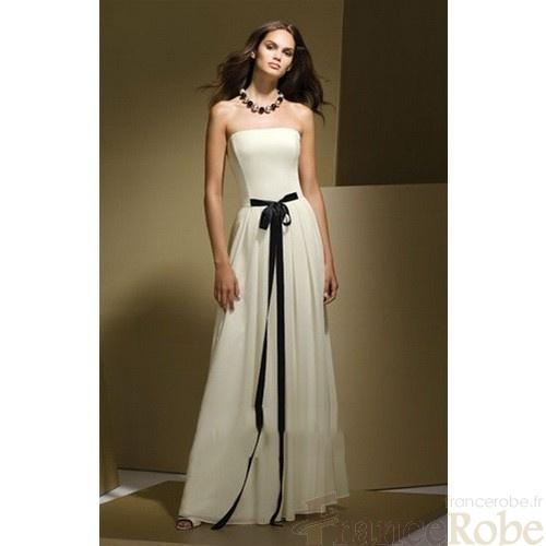 Mode De Bal Mousseline Polyester Sans Bretelles Sans Manches Robe Demoiselle Honneur Fr6281